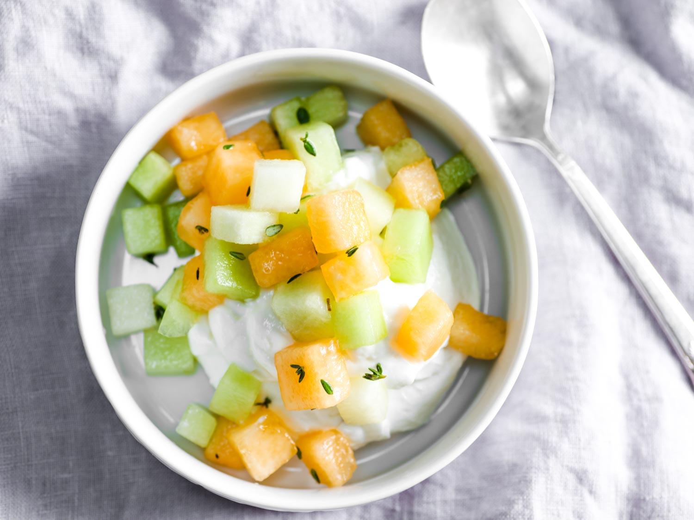 Fresh Cantaloupe and Honeydew Salad With Lemon and Thyme
