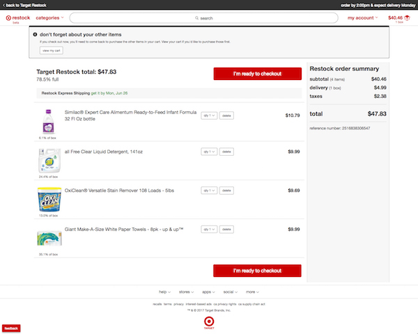 Target expands its next-day 'everyday essentials' delivery service, Target Restock