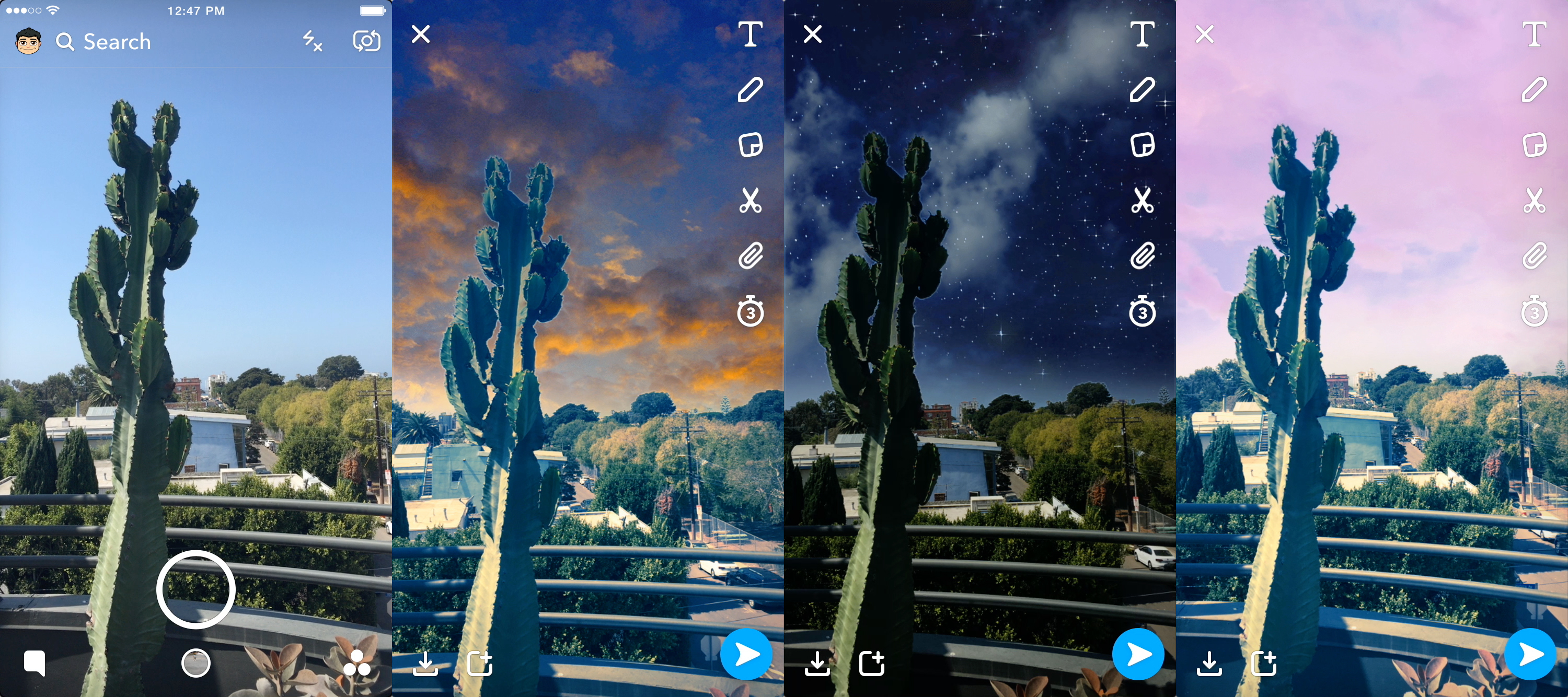 Snapchat's new Filters can transform the sky above your head