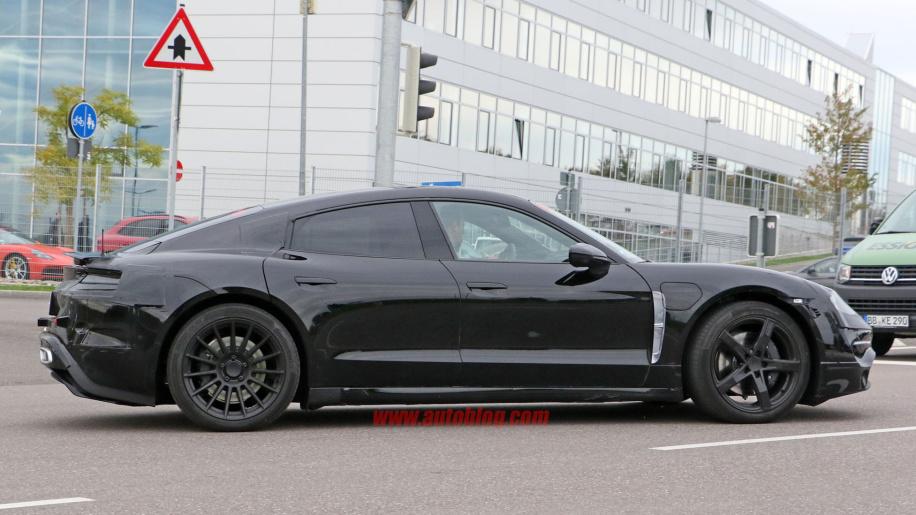 Porsche's Mission E caught testing alongside Tesla vehicles