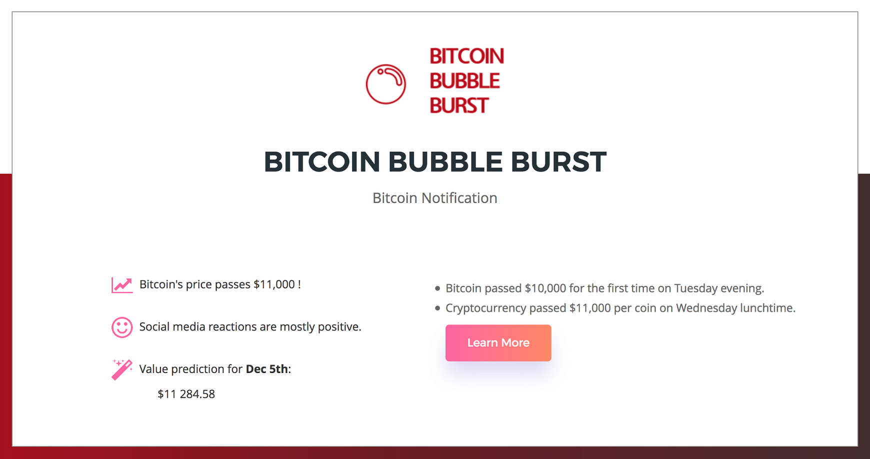 Bitcoin Bubble Burst will warn you if the bitcoin dream is about to crash down