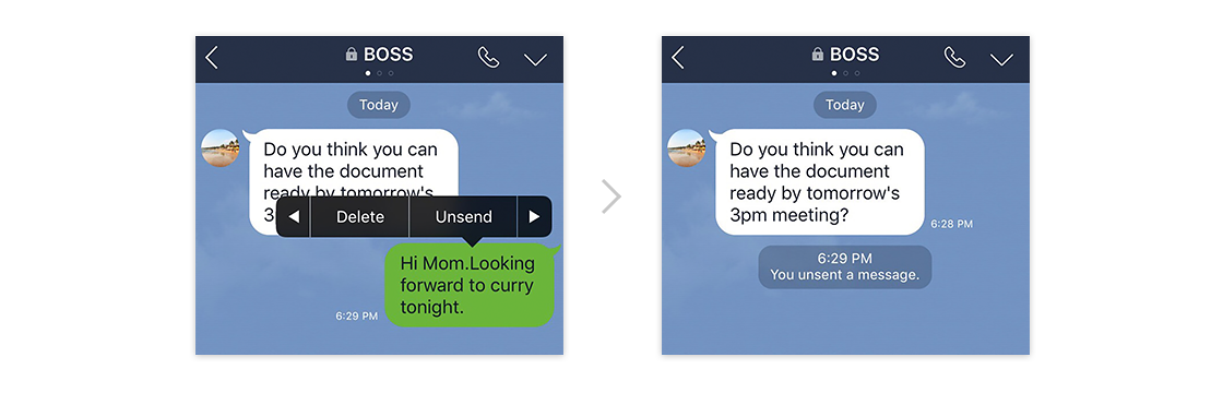 Line adds unsend for recalling missent messages