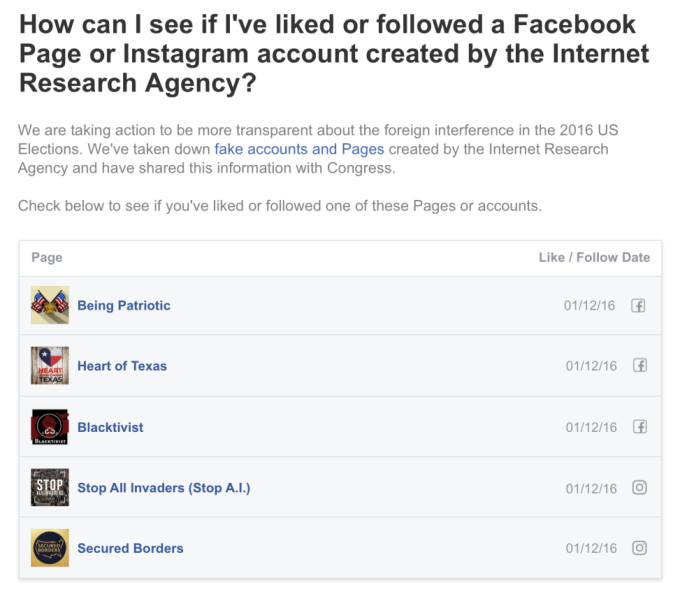 Check now to see if you liked any Russian troll accounts on Facebook