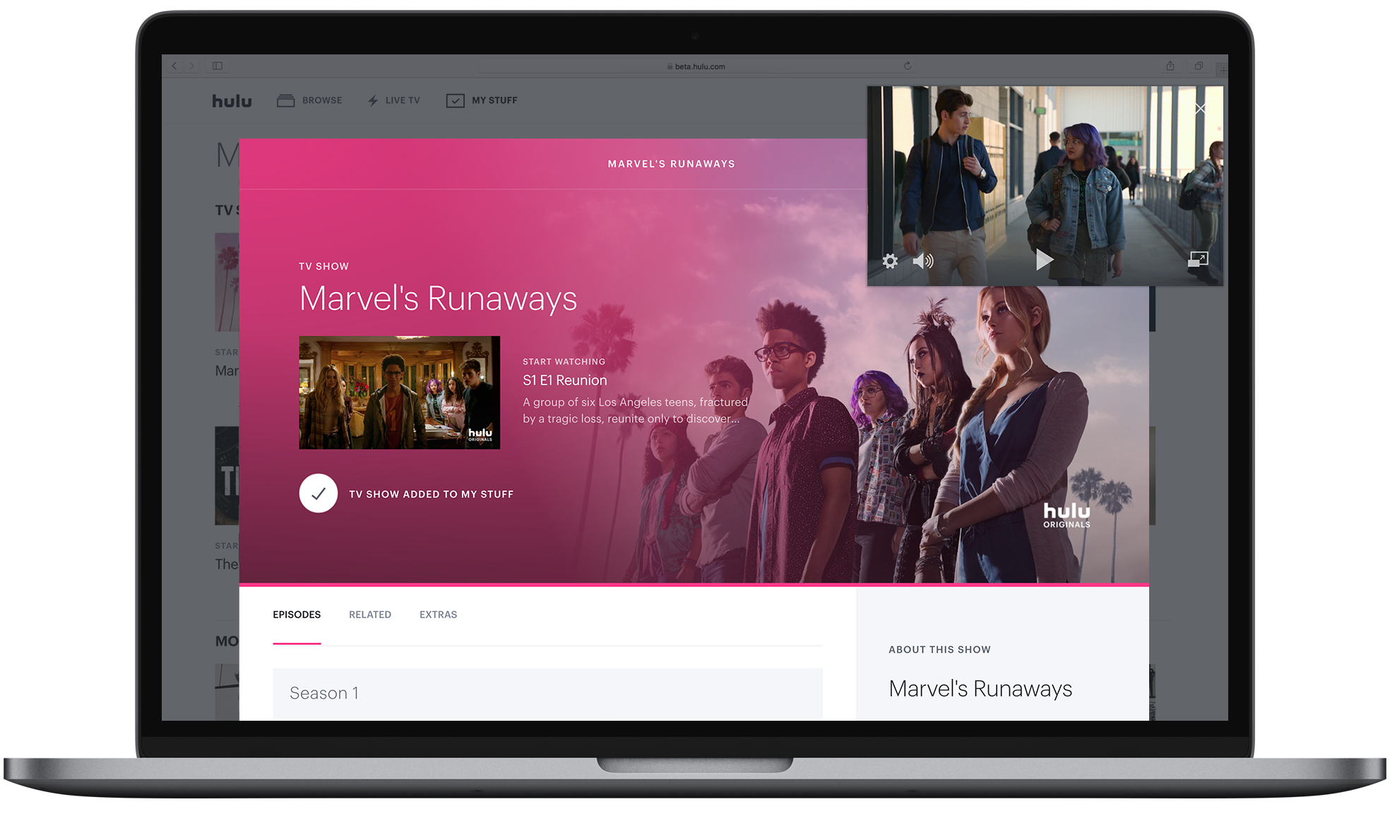 Hulu adds your watchlist and picture-in-picture mode to its web app