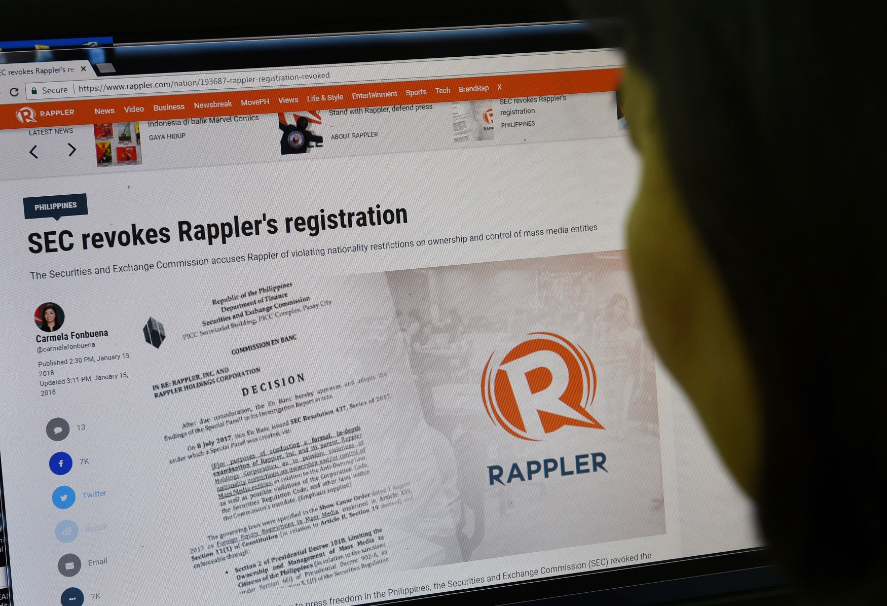 Rappler, a new media organization critical of the Philippines government, faces closure