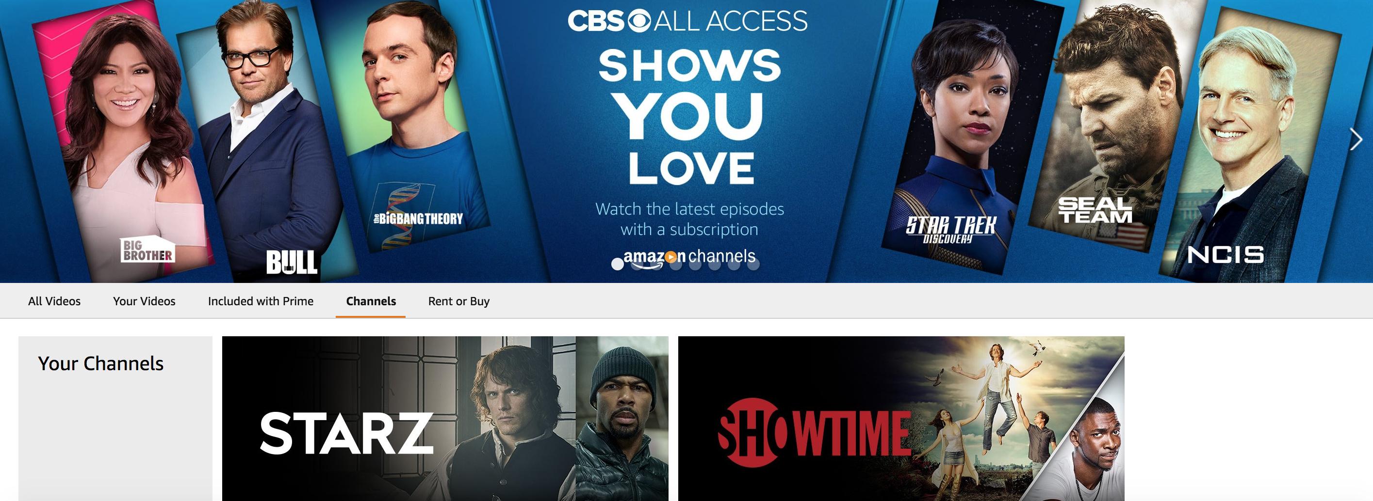 Amazon's a la carte TV service, Amazon Channels, adds CBS All Access