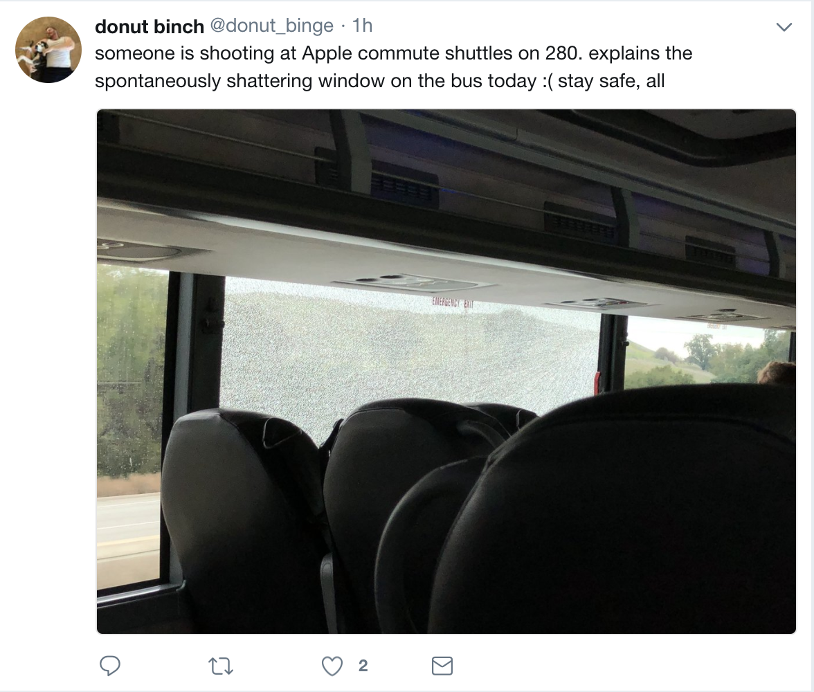Apple rerouting employee shuttles after highway attacks shatter windows on buses during commutes