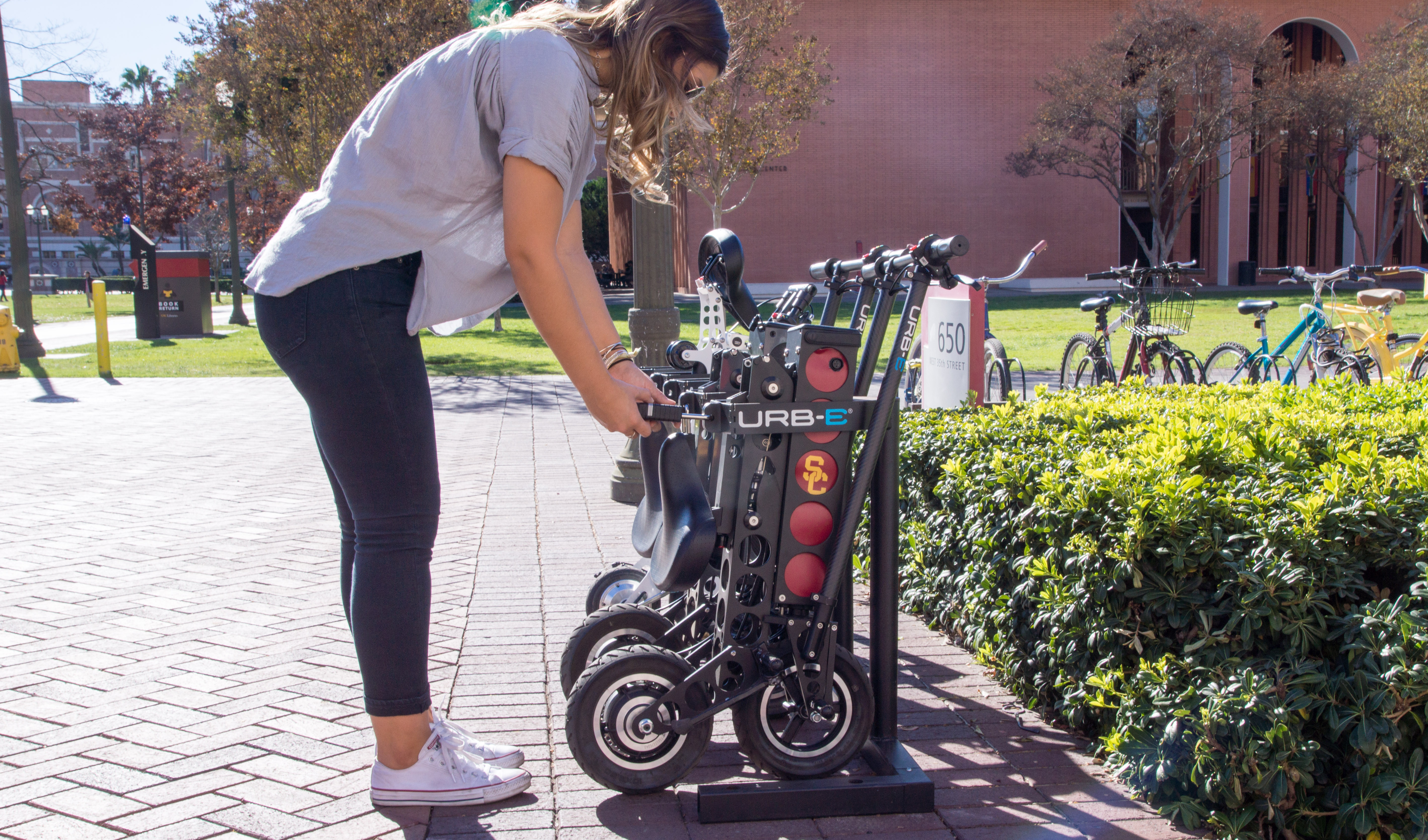 URB-E's launching a scooter sharing network at college campuses and hotels