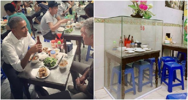 Barack Obama, Anthony Bourdain's Vietnam restaurant table preserved in glass case