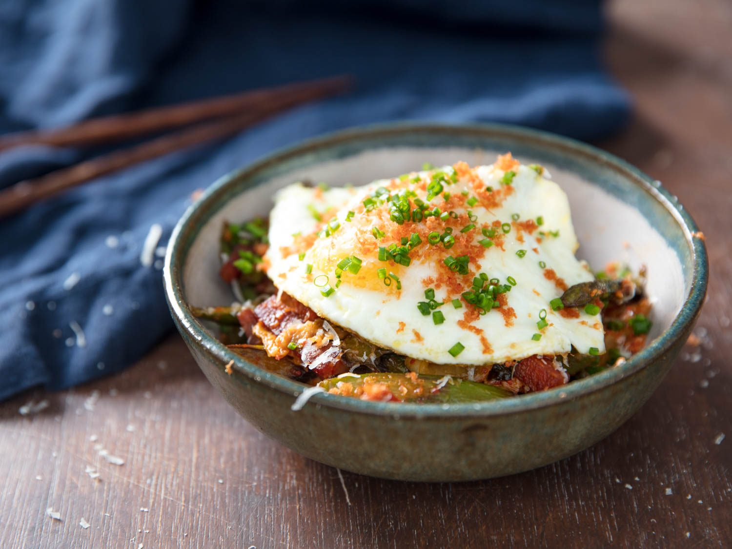 Kimchi and Asparagus Stir-Fry With Spam and Fried Egg