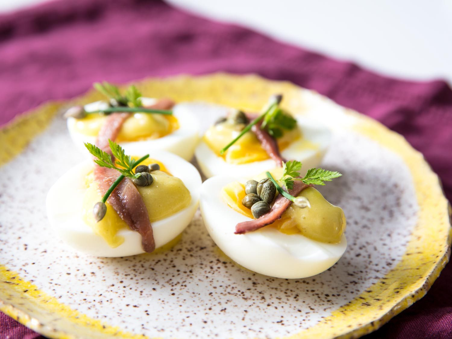Deconstructed Deviled Eggs With Mayonnaise, Anchovies, and Capers