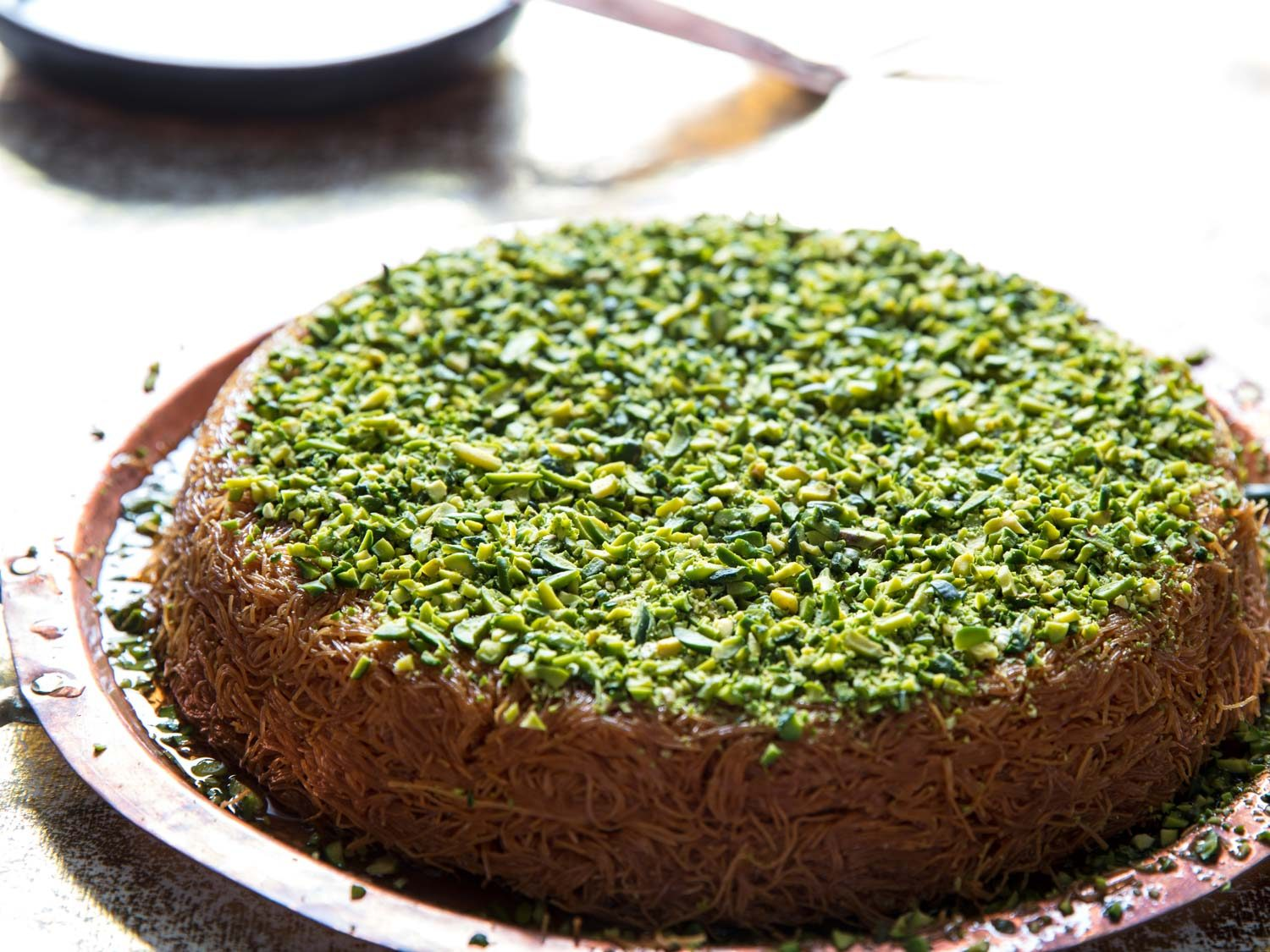 Kanafeh (Middle Eastern Cheese and Phyllo Dessert)