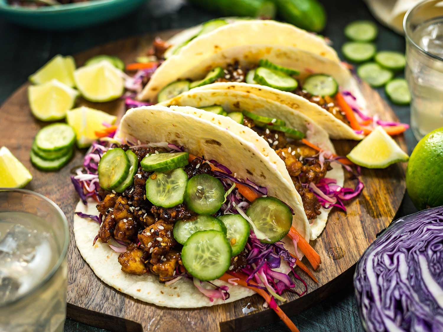 Korean-Inspired Crispy Tofu Tacos With Cabbage-Lime Slaw