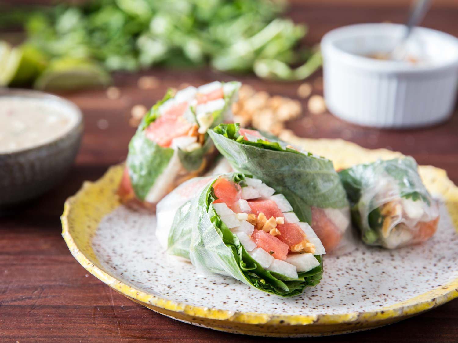 Summer Rolls With Jicama, Watermelon, And Herbs
