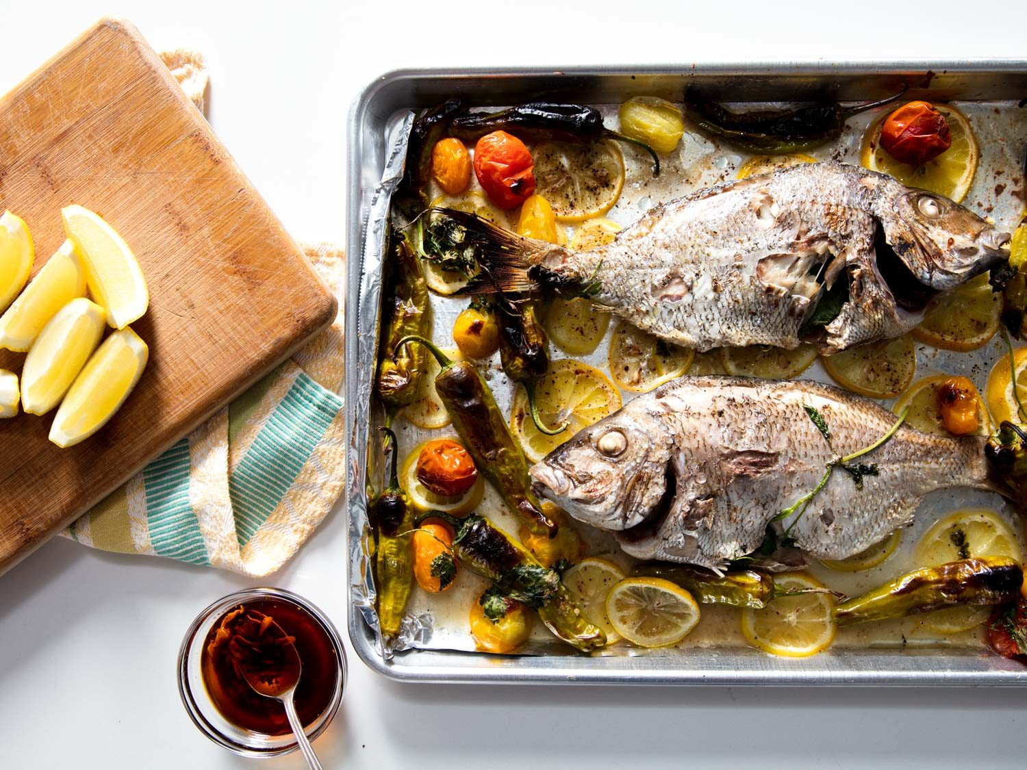 Broiled Whole Porgy With Blistered Shishito and Tomato