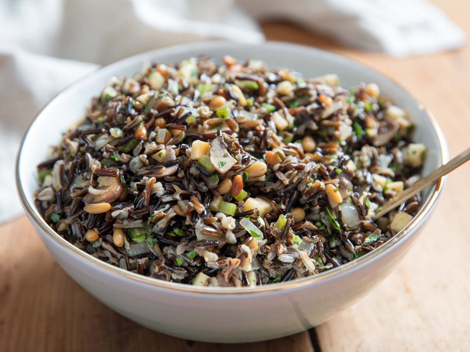 Wild Rice Salad With Mushrooms, Celery Root, and Pine Nuts