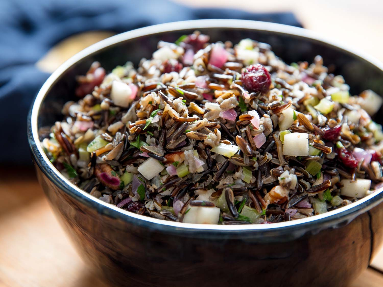 Wild Rice Salad With Dried Cranberries, Pickled Apples, and Pecans