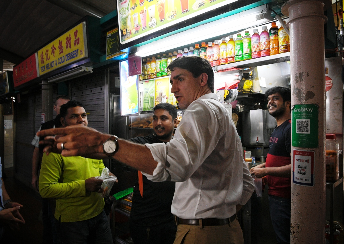 Canadian Prime Minister Justin Trudeau drops by Adam Road Food Centre for lime juice