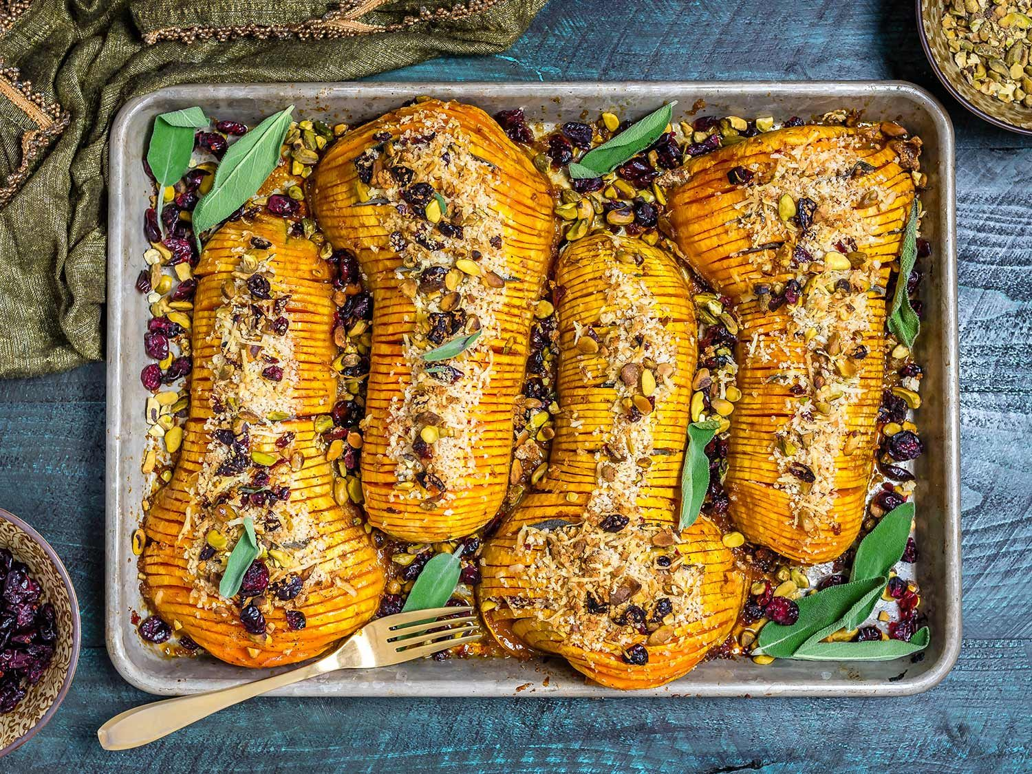 Honey-Glazed Hasselback Butternut Squash With Parmesan Breadcrumbs