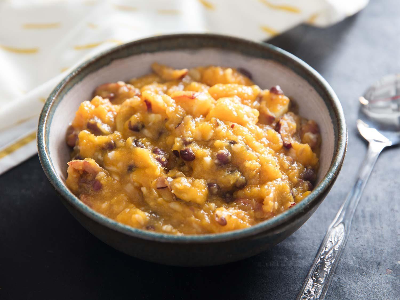 Hobak Beombeok (Korean Squash, Sweet Potato, and Bean Porridge)