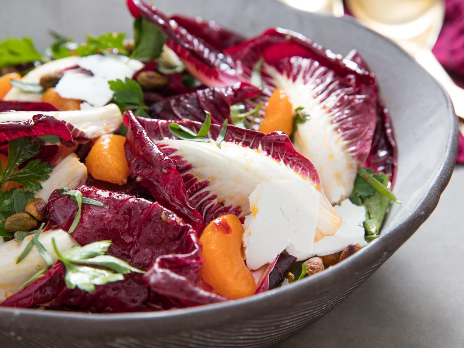 Trevisano Radicchio Salad With Satsumas, Pistachios, and Calabrian Chili Vinaigrette
