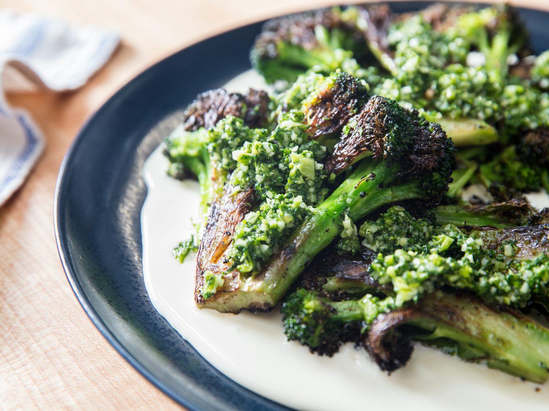 Charred Broccoli With Taleggio Cheese Sauce and Gremolata