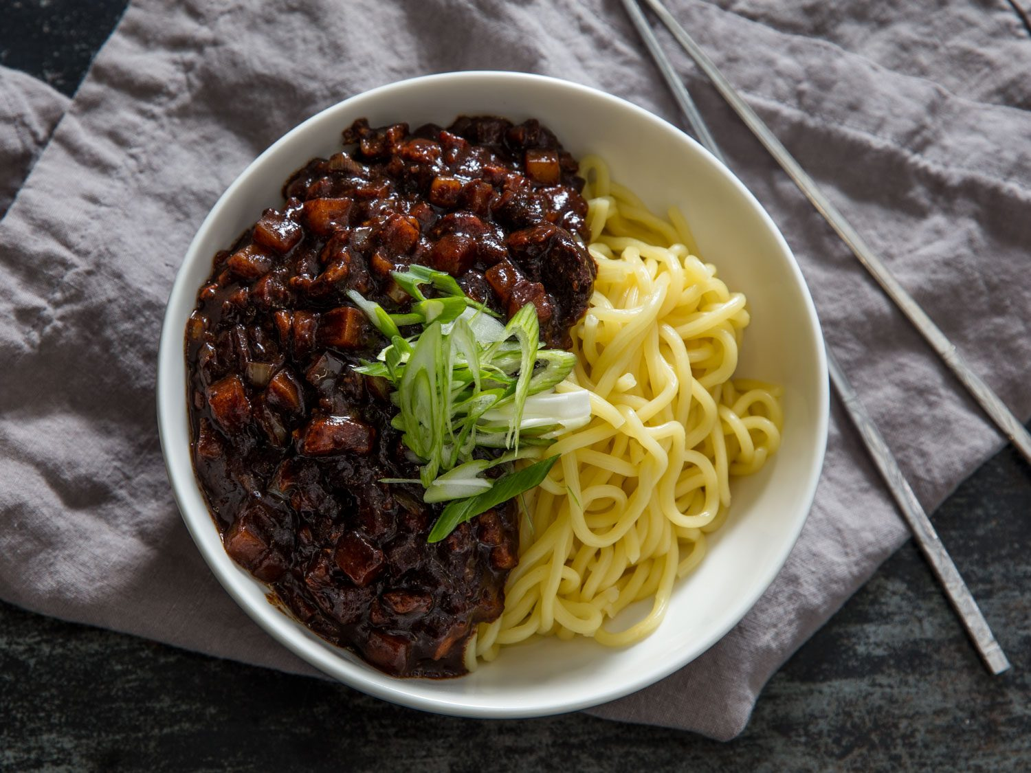 Jjajangmyeon (Korean Black Bean Noodles)