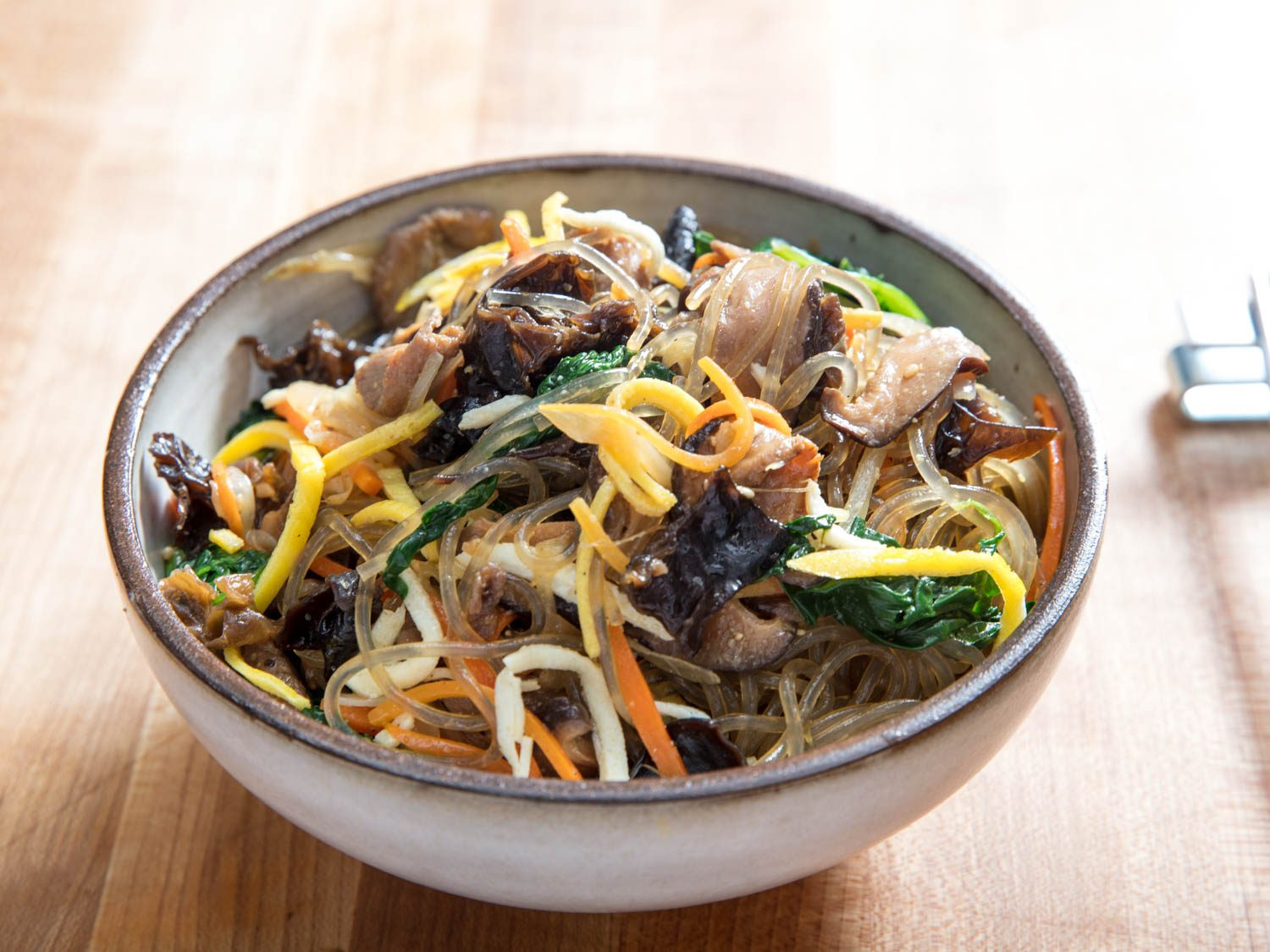 Japchae (Korean Glass Noodles With Pork and Vegetables)