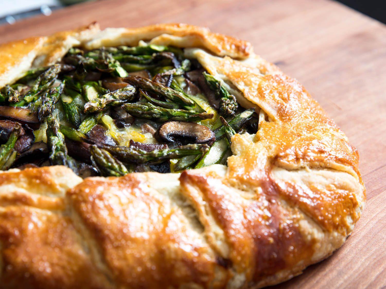 Asparagus, Mushroom, Leek, and Cheese Galette