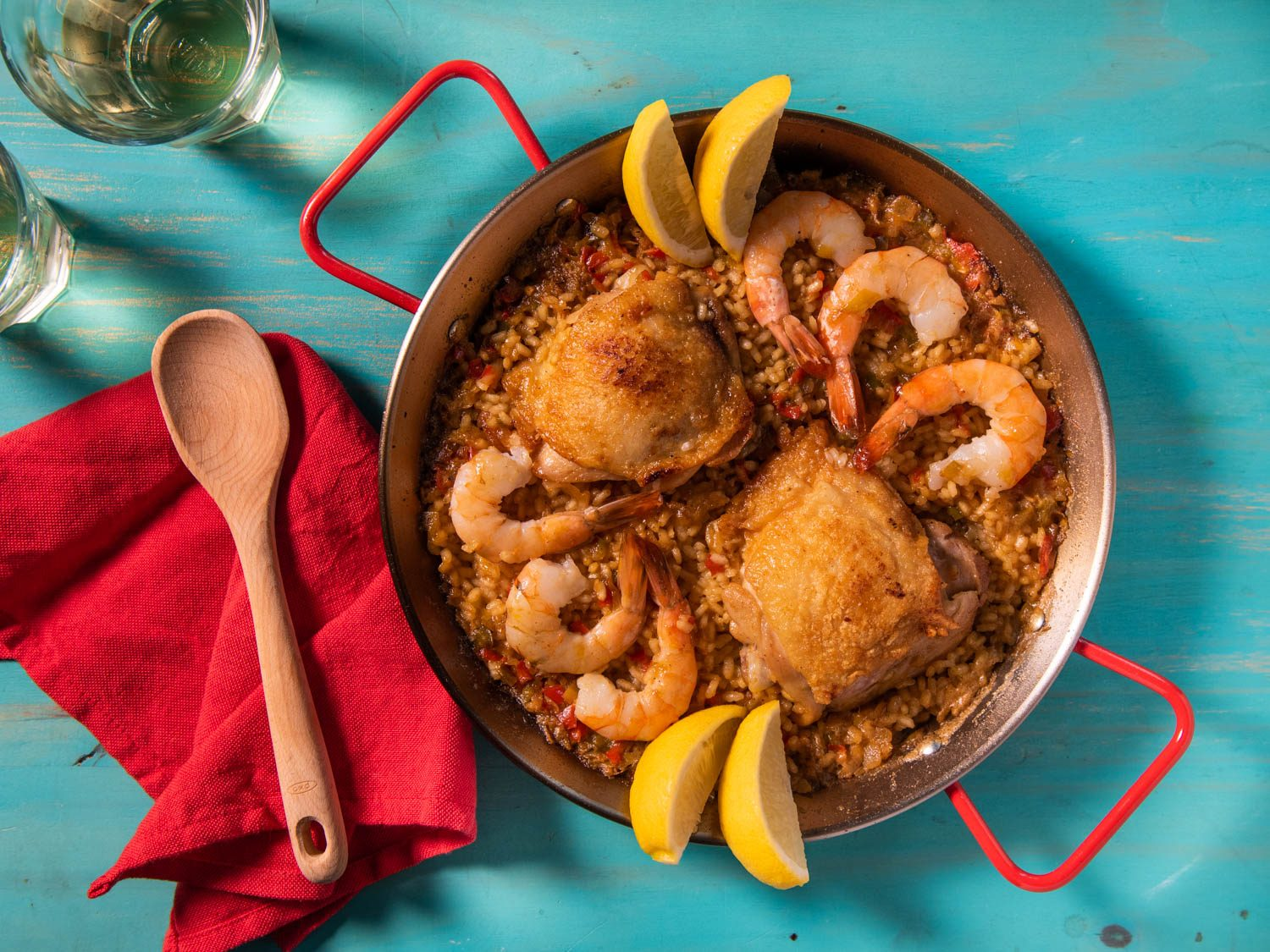 Stovetop Paella Mixta for Two With Chicken and Shrimp