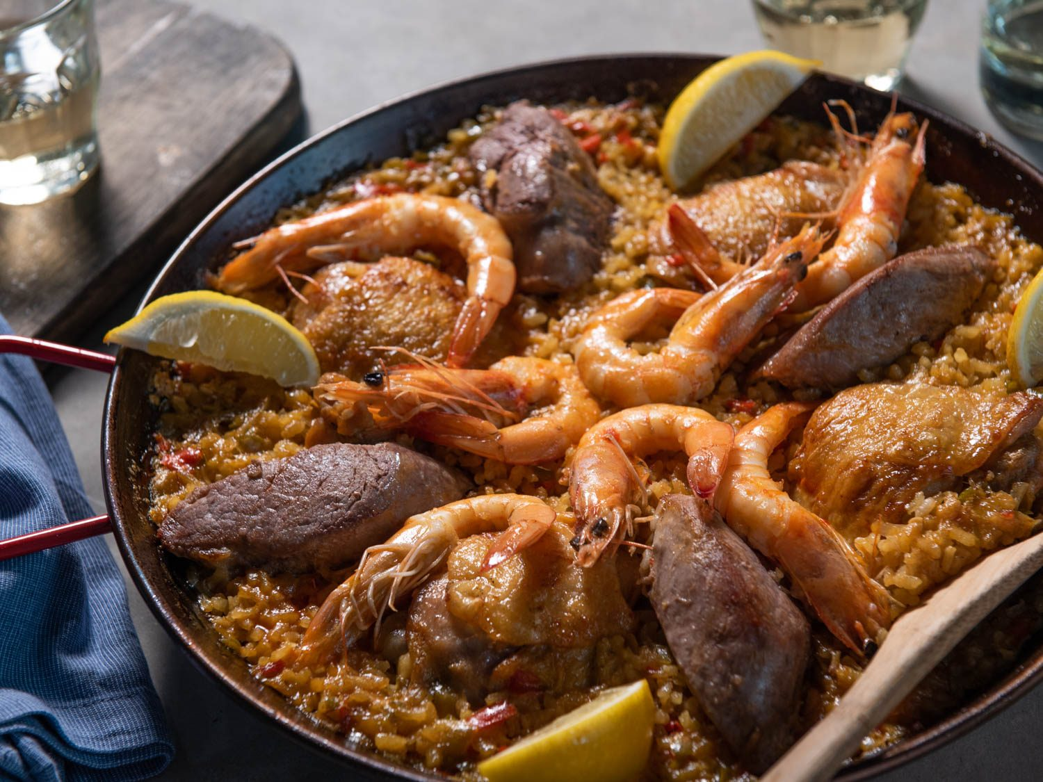Stovetop Paella Mixta for Four With Pork, Chicken, and Shrimp