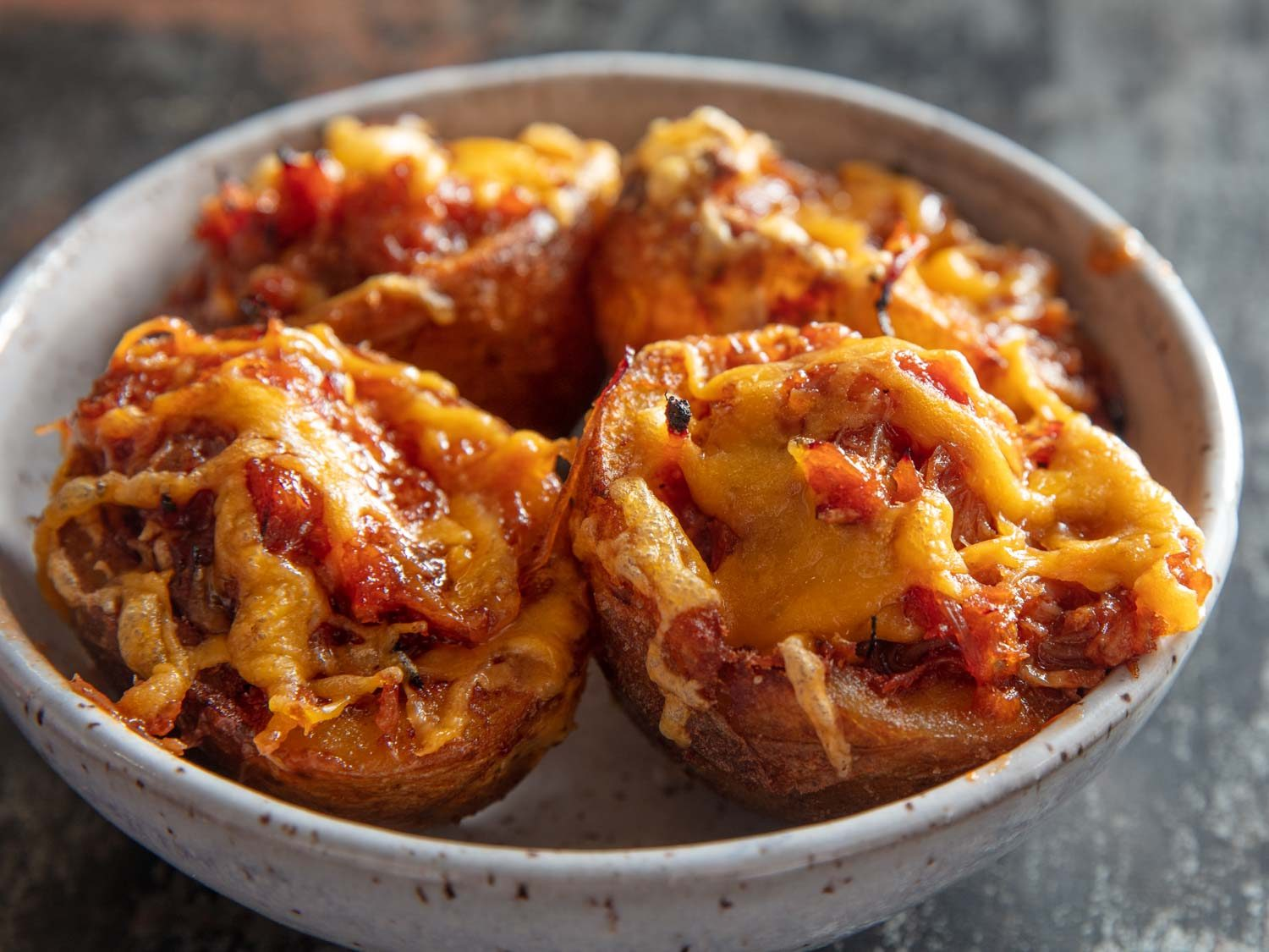 Deep-Fried Potato Skins With Pulled Pork and Cheddar