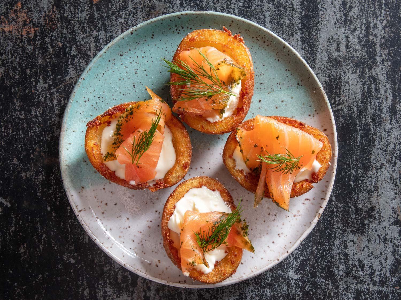 Deep-Fried Potato Skins With Crème Fraîche and Smoked Salmon