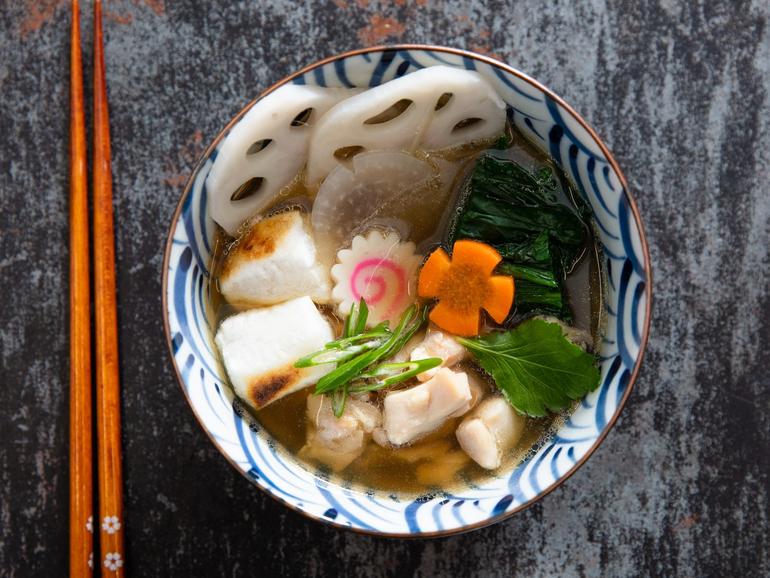 Ozoni (Japanese New Year's Soup) With Mochi, Chicken, and Vegetables
