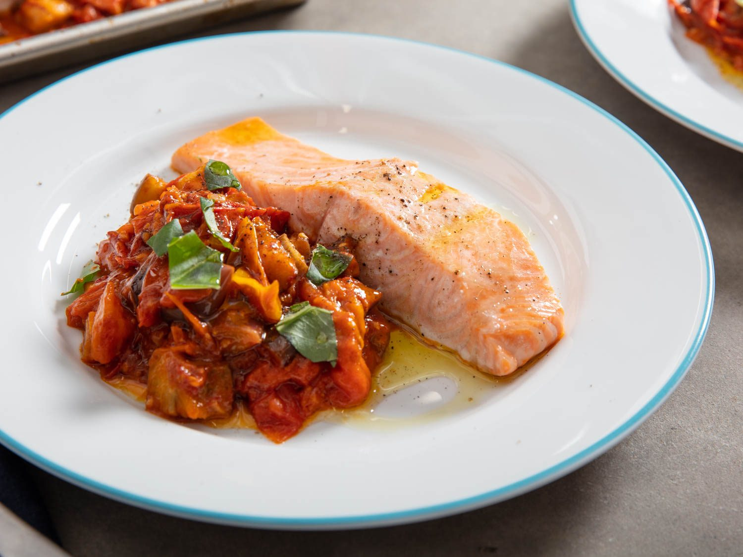 Sheet-Pan Salmon With Tomato-Eggplant Compote