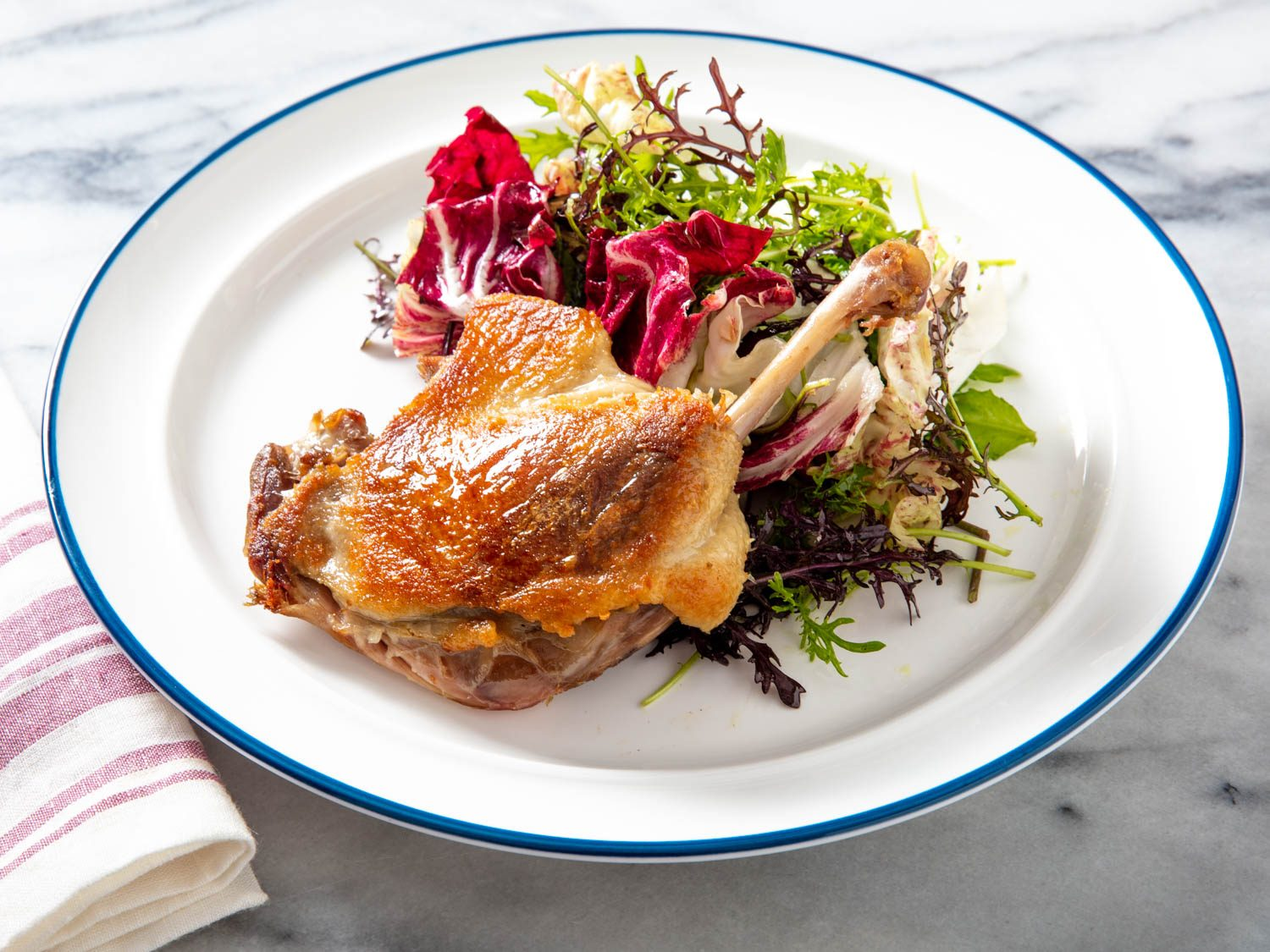 Crispy Duck Confit With Mixed Bitter Greens Salad