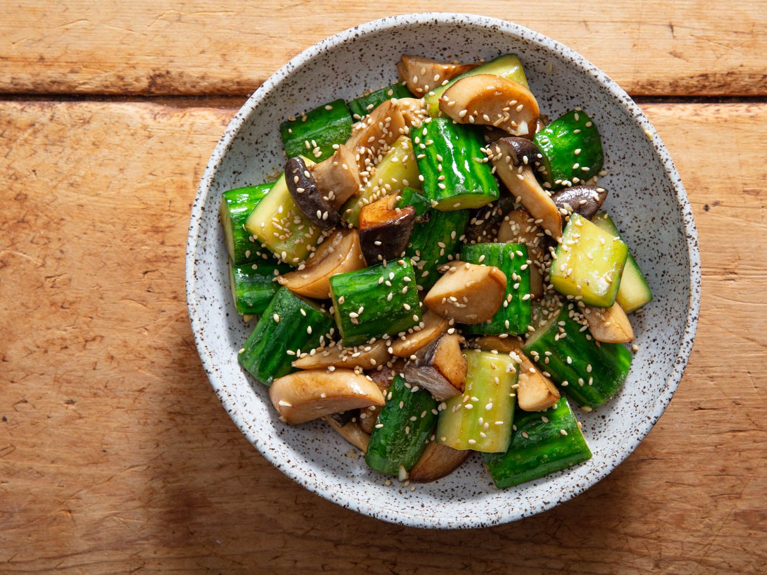 Stir-Fried Cucumbers With Trumpet Mushrooms, and Torch Hei